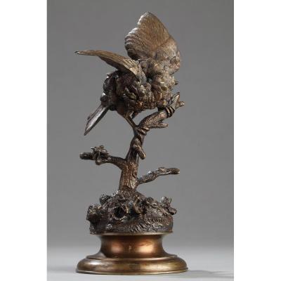 Oiseau Sur Une Branche - Ferdinand Pautrot (1832-1874)