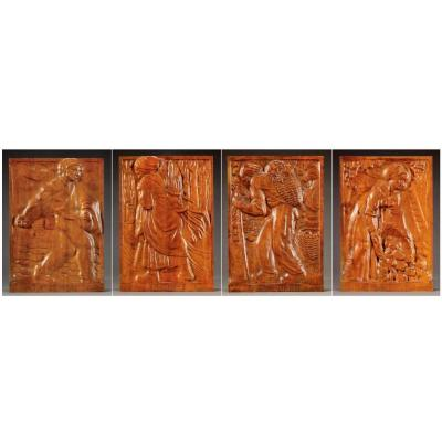 Suite Of 4 Carved Panels - Edouard Chassaing (1895-1974)