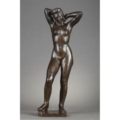 Femme Se Coiffant - Albert Bouquillon (1908-1997)