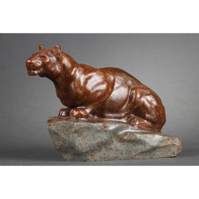 Panther On The Lookout - Paul Jouve (1878-1973)