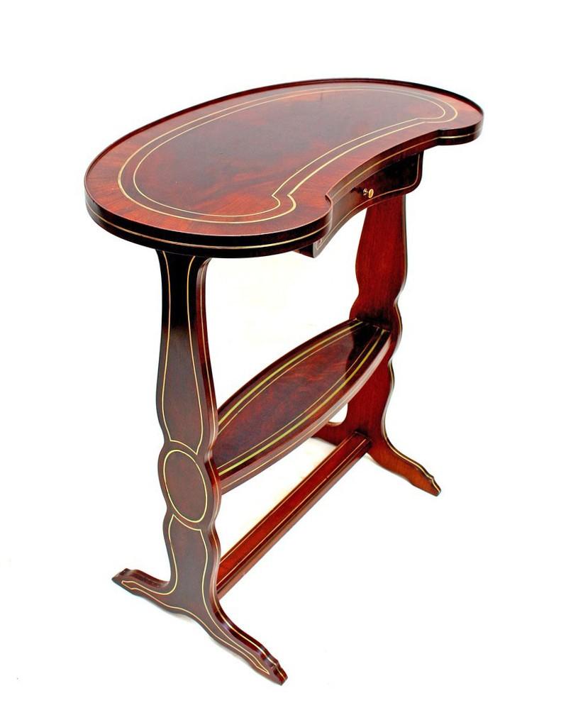 Table rognon Napoléon III acajou marqueterie Boulle