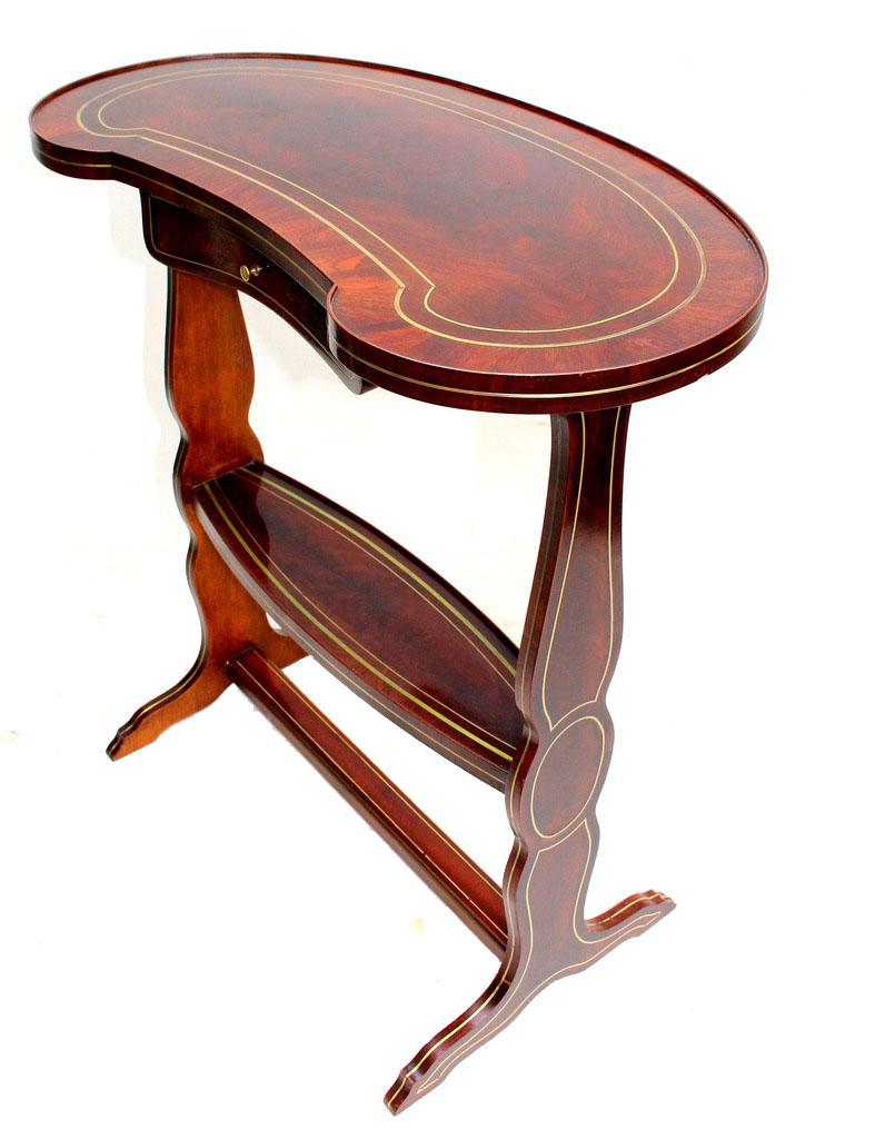 Table rognon Napoléon III acajou marqueterie Boulle-photo-4