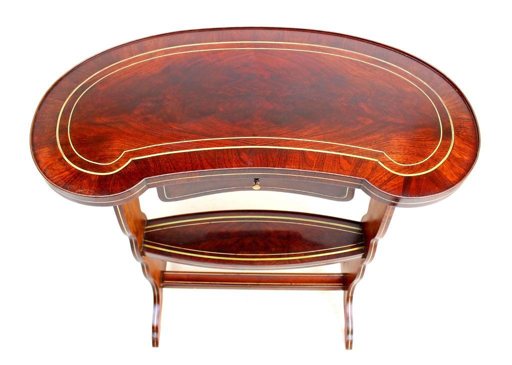 Table rognon Napoléon III acajou marqueterie Boulle-photo-1