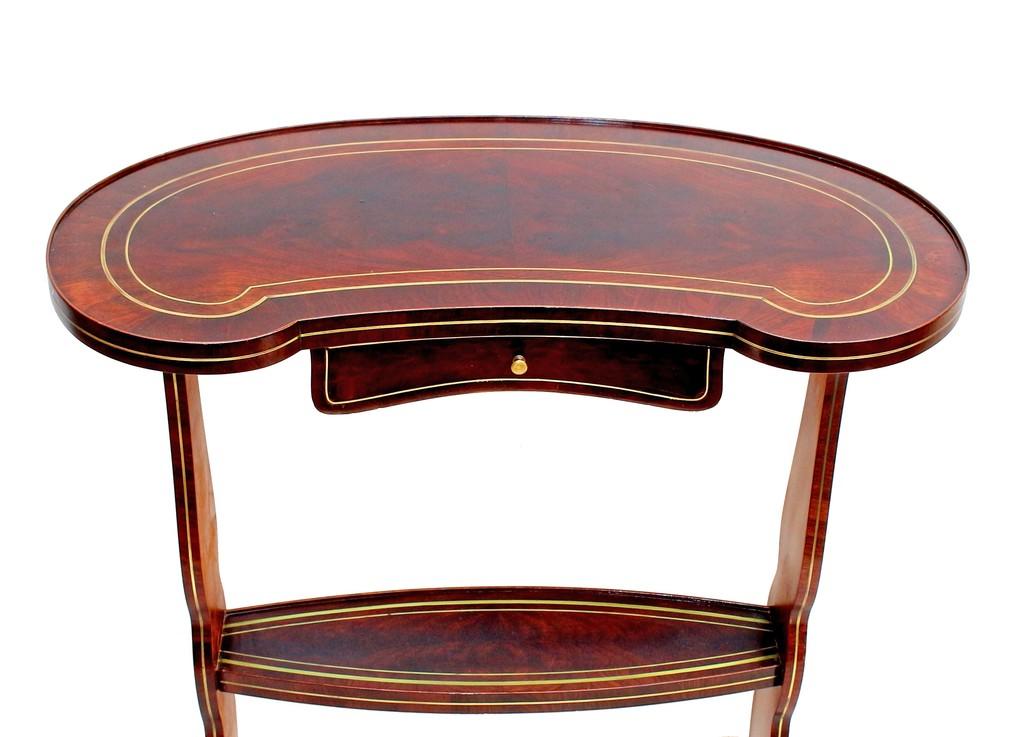 Table rognon Napoléon III acajou marqueterie Boulle-photo-3