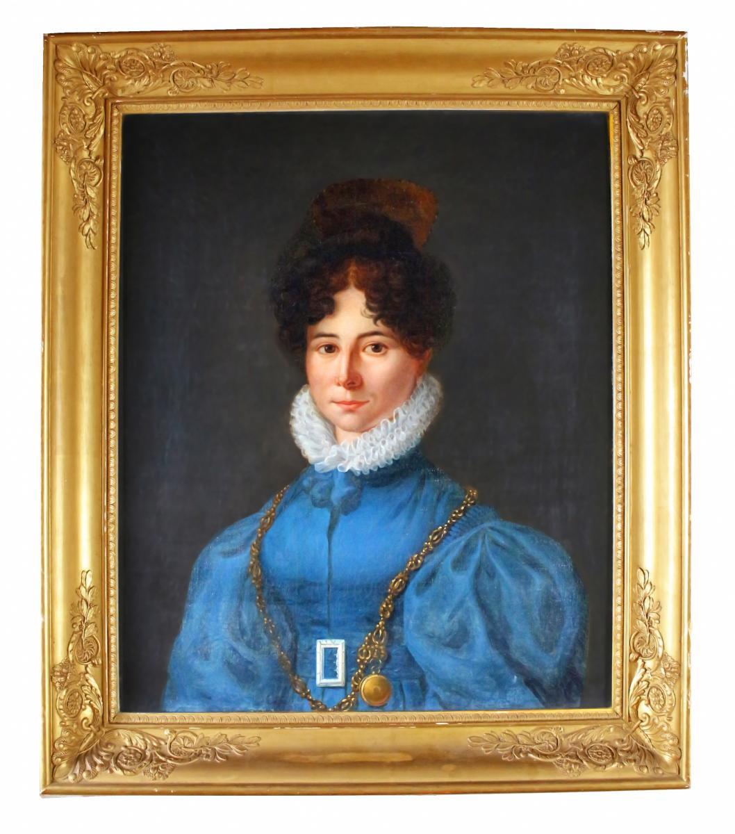 Portrait Dame De Qualité époque Empire