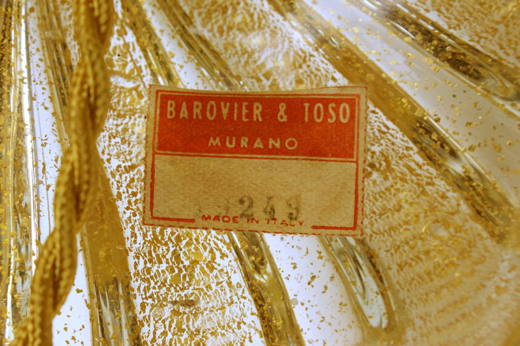 TOSO et BAROVIER grande lampe Murano 1940-50-photo-4