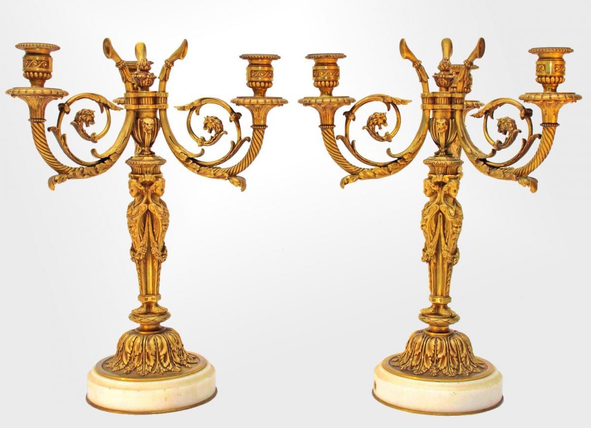 Démosthène Dugourc d'Après Luxueuse Paire De Candélabres En Bronze XIXe