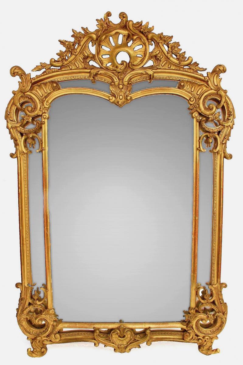 Miroir Napoléon III En Bois Doré (1 m 46 X 98 cm)