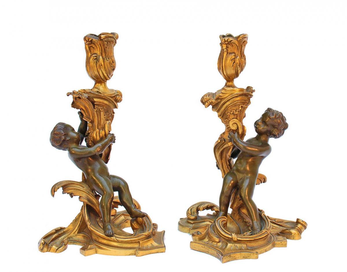 Flambeaux en Bronze d'Après Meissonnier (1695-1750)