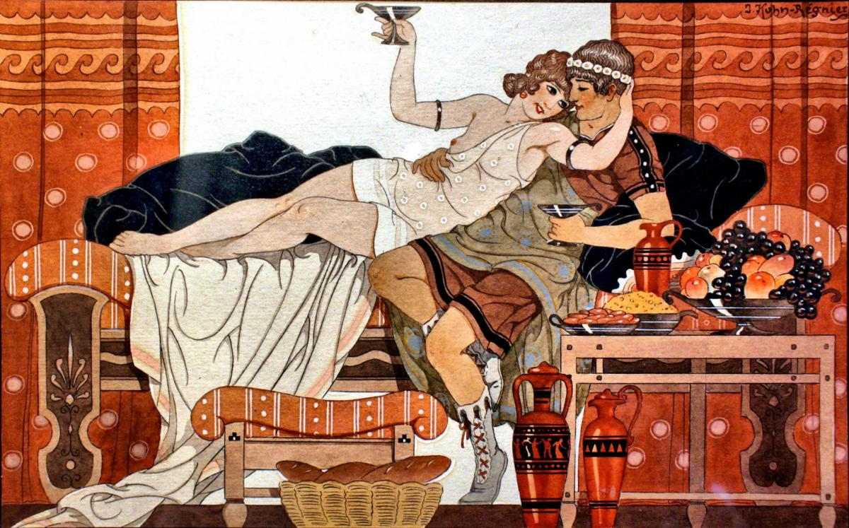 Joseph Kuhn-regnier (1873-1940) Original Art Deco Watercolor Painting