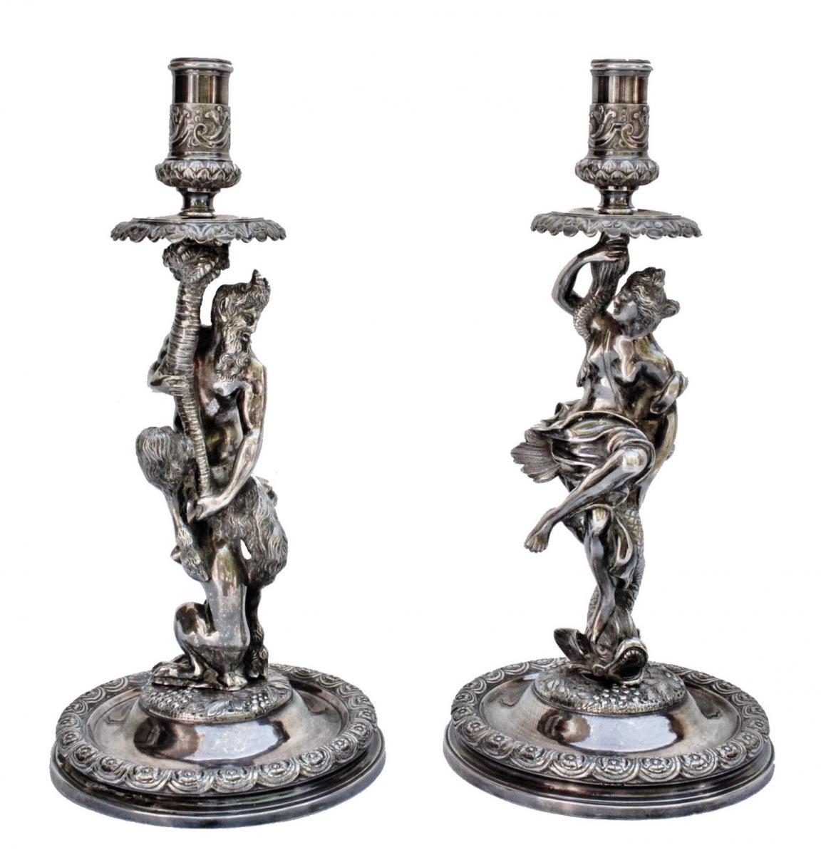 Corneille Van Cleve (1646-1732) Paire De Grands Flambeaux