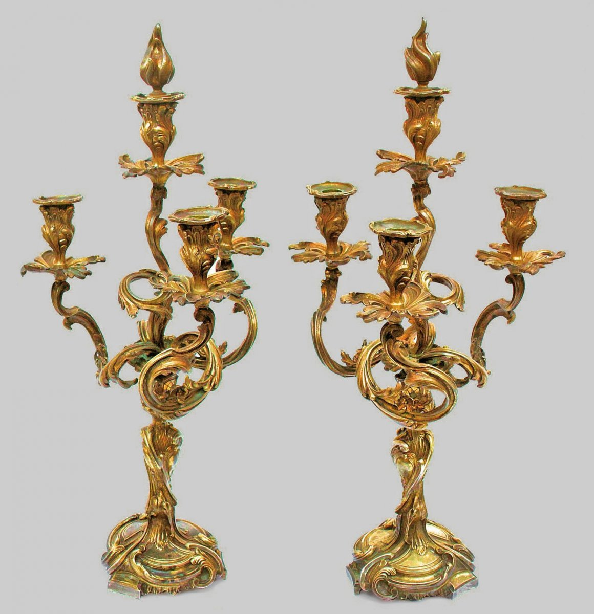 Pair Of Large Candelabra Napoleon III Bronze (h: 68 Cm)