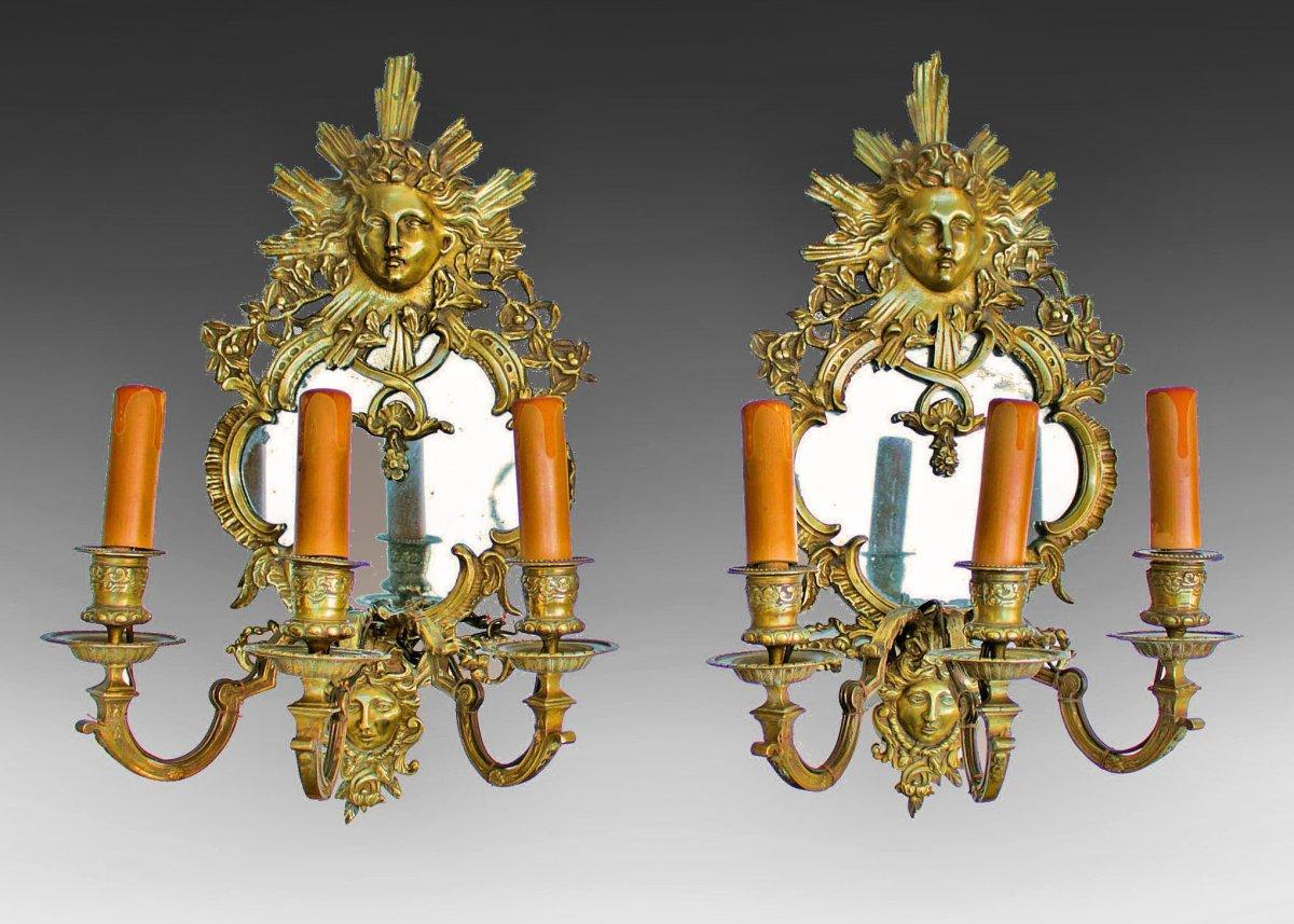 Pair Of Napoleon III Mirror Wall Lamps In Bronze