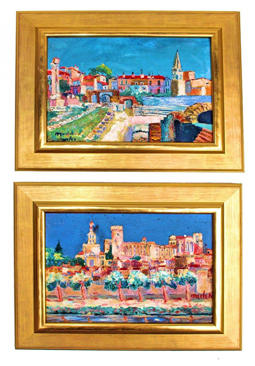 Elisée Maclet (1881-1962) Pair Of Paintings: Arles And Avignon