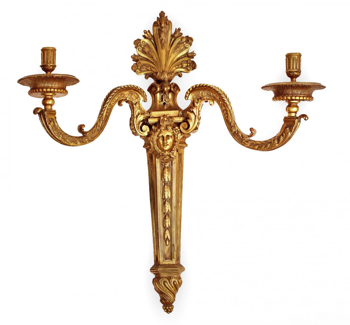 Important Bronze Wall Lamp Late Nineteenth (h: 72 Cm)