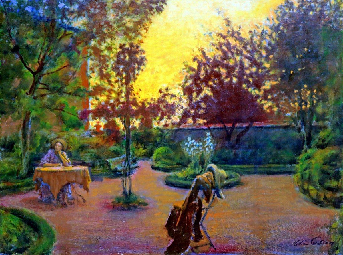 Cosson (1897-1976) Élégante dans le Parc-photo-1