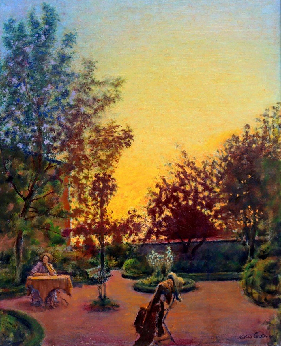Cosson (1897-1976) Élégante dans le Parc
