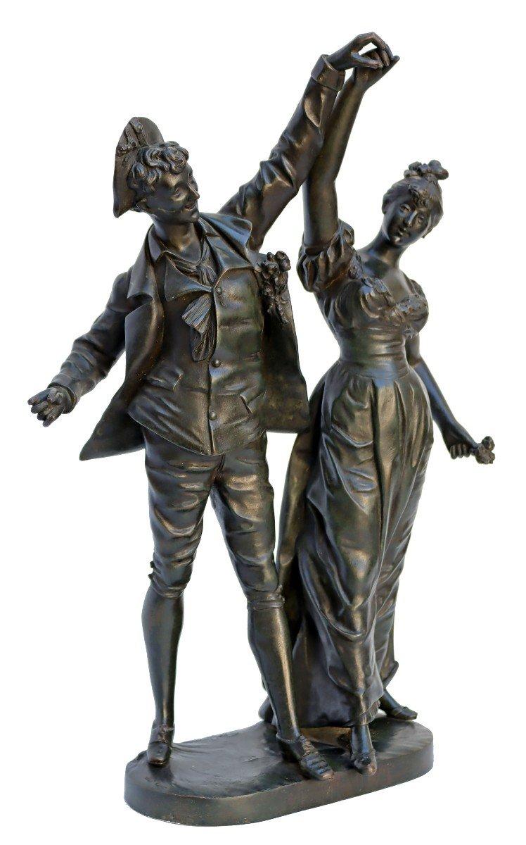-Le Menuet- Bronze d'époque Art Nouveau 1900 Signé P.jean-photo-2