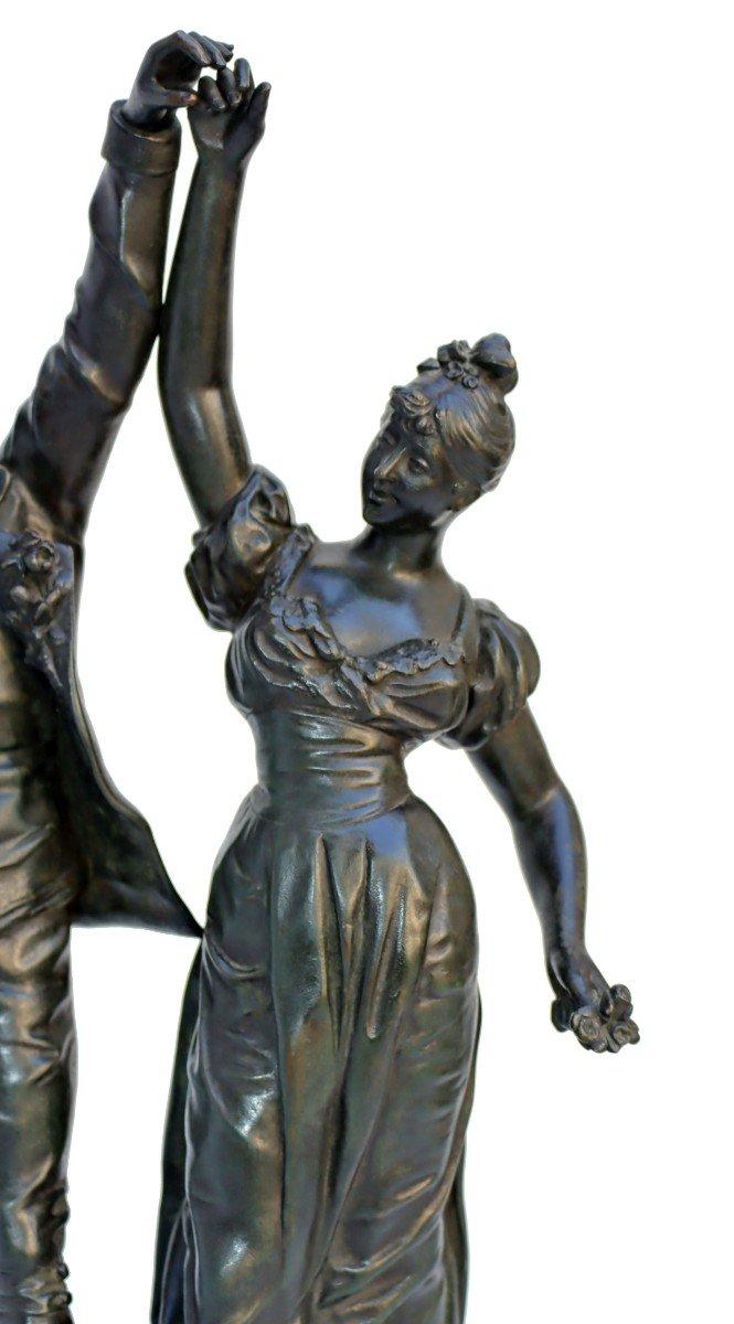 -Le Menuet- Bronze d'époque Art Nouveau 1900 Signé P.jean-photo-3