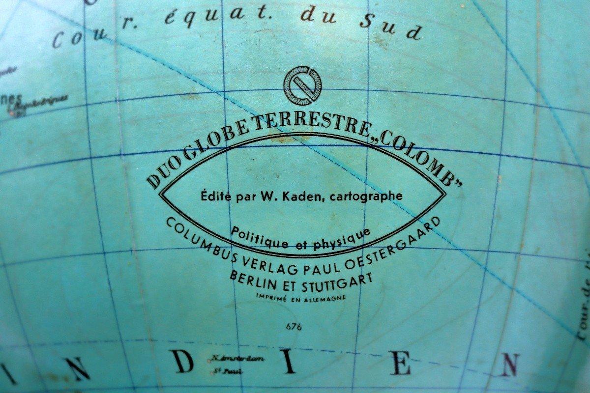 Paul Oestergaard Globe Terrestre Mappemonde En Verre Lumineux-photo-2