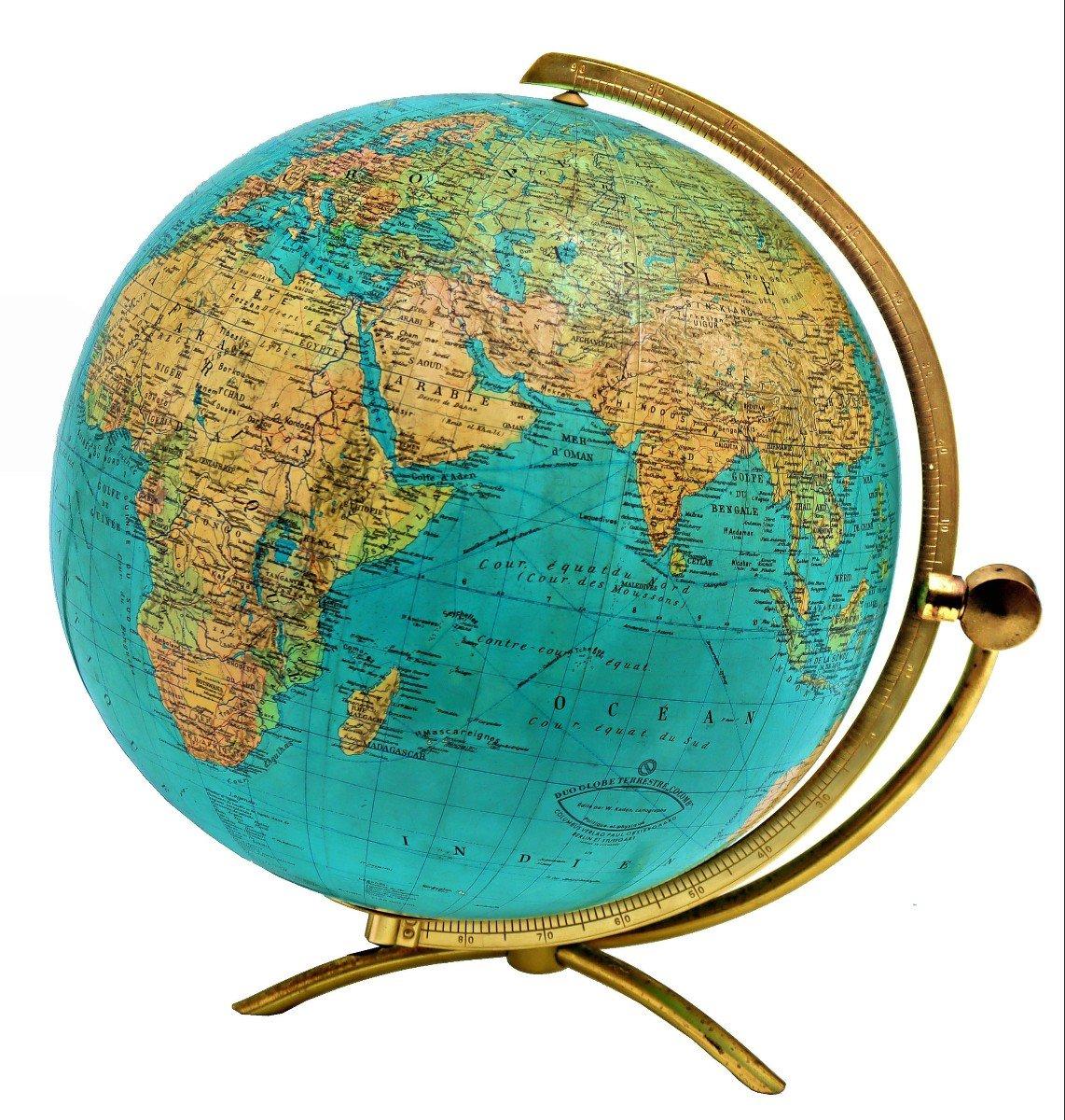 Paul Oestergaard Globe Terrestre Mappemonde En Verre Lumineux