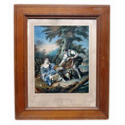 François Boucher Print Nineteenth Accented With Watercolor