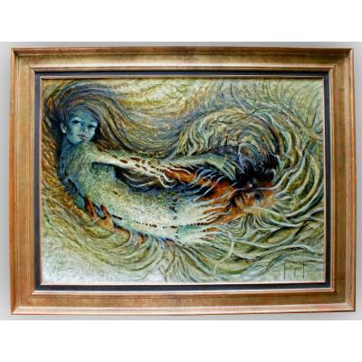 """St. Francis Genies (born In 1925) Oil On Canvas """"sirens"""""""