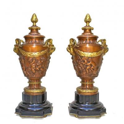 Paire De Grands Vases Napoléon III En Bronze (h:52cm)