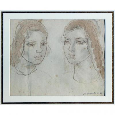 Isidore-marie Peyret Signed Drawing Dated 1948