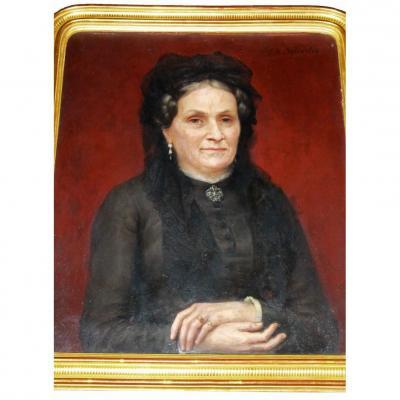 Joseph-noel Sylvestre XIXth Portrait Of Mme A ...