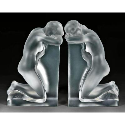 """Lalique Pair Of Large Bookends """"reverie"""""""