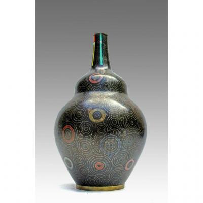 Vase Cloisonné Art Déco Attribué à Jean Goulden
