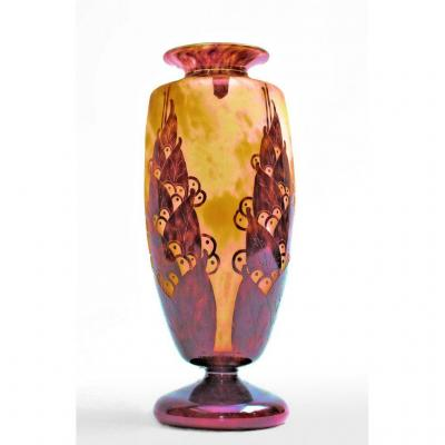 Large Art Deco Vase Signed The French Glass