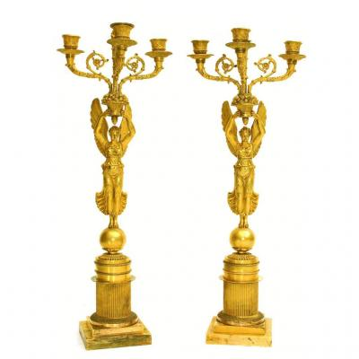 Pair Of Candelabra Empire Winged Victories