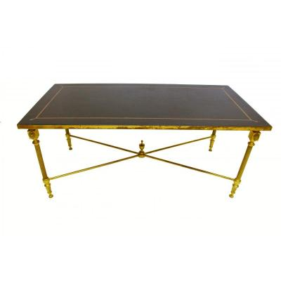 1950s Jansen Bronze Style Table With Sheathed Leather Top