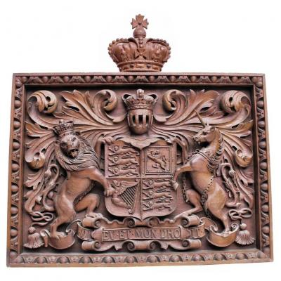 Bas Relief Of Castle Carved Wood Nineteenth