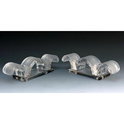 Lalique Paire de Chandeliers ''Porquerolles''