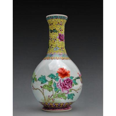 Vase Chine Qianlong Famille Rose