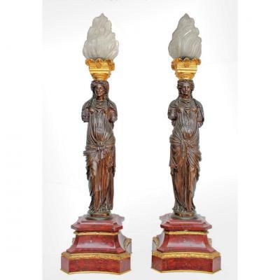 F. Barbedienne Paire de Lampes Torcheres en bronze XIXe