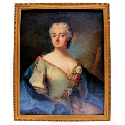 Grand Portrait Dame XVIIIe d'Après Nattier