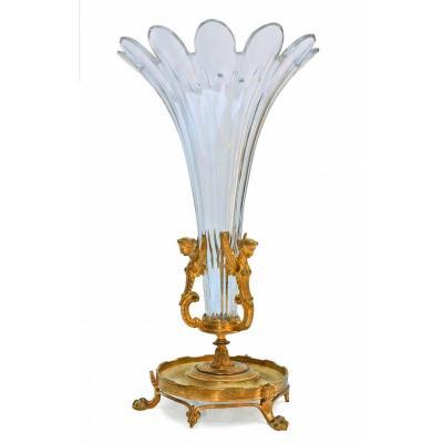 Grand Vase Cornet Napoléon III en Cristal et Bronze