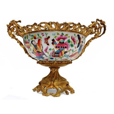 Coupe XIXe En Porcelaine De Chine Montée Bronze