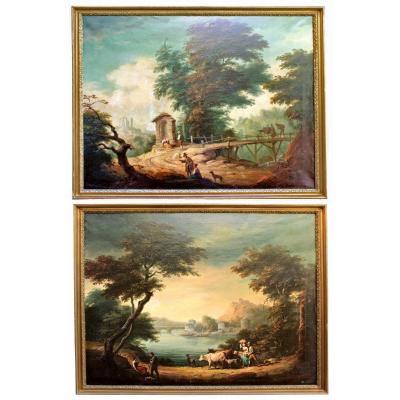 Luigi Rigorini Paire De Grands Tableaux Paysages Animés