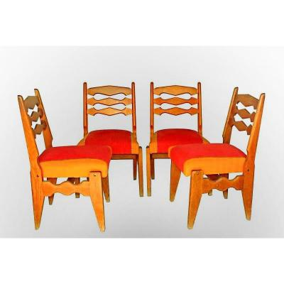 Four 1950 Chairs By Guillerme And Chambron