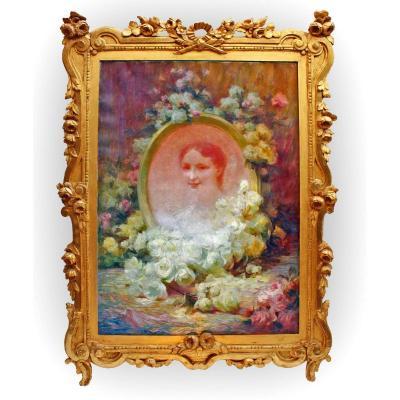 Achille CESBRON (1849-1915) Portrait Aux Fleurs
