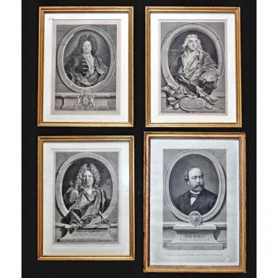 Suite de quatre gravures portraits XVIII-XIXe