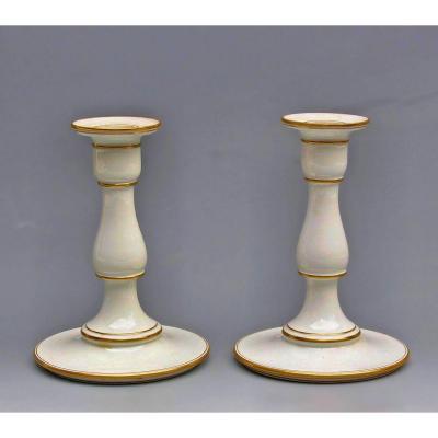 Sèvres 1862 Paire de Bougeoirs Forme Balustre