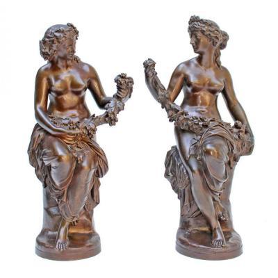 J-B Clésinger (1814-1883) & Barbedienne Paire De Statues Bronze XIXe