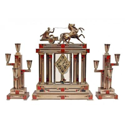 Important Art Deco Fireplace Trim In Dinanderie Signed Voltas
