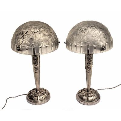 Hettier & Vincent Pair Of Large Art Deco Lamps